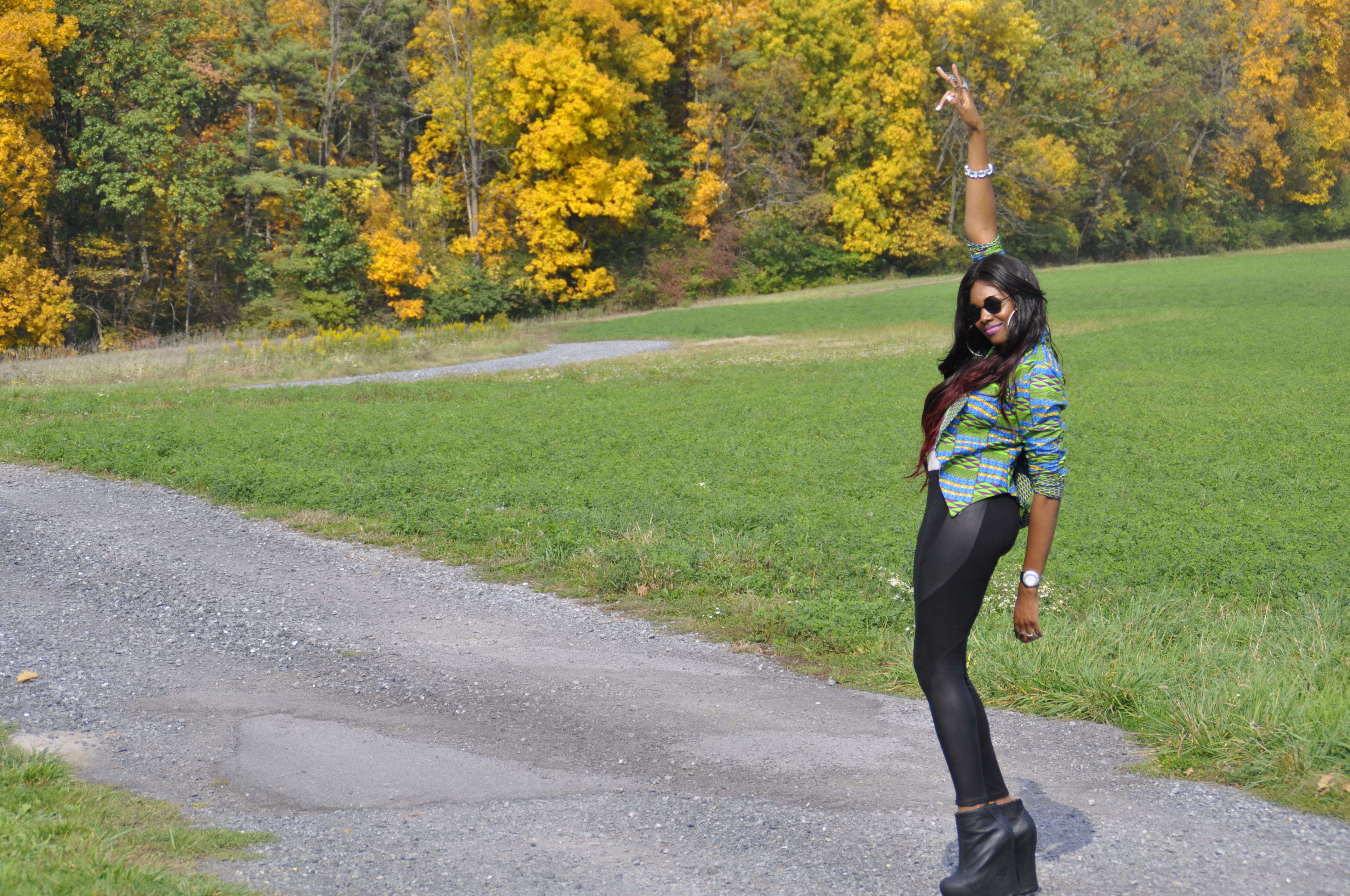 21st Birthday Kente Print Blazer, Faux Leather Panel Leggings and Jeffrey Campbell Black Pixie 2 Boots 2