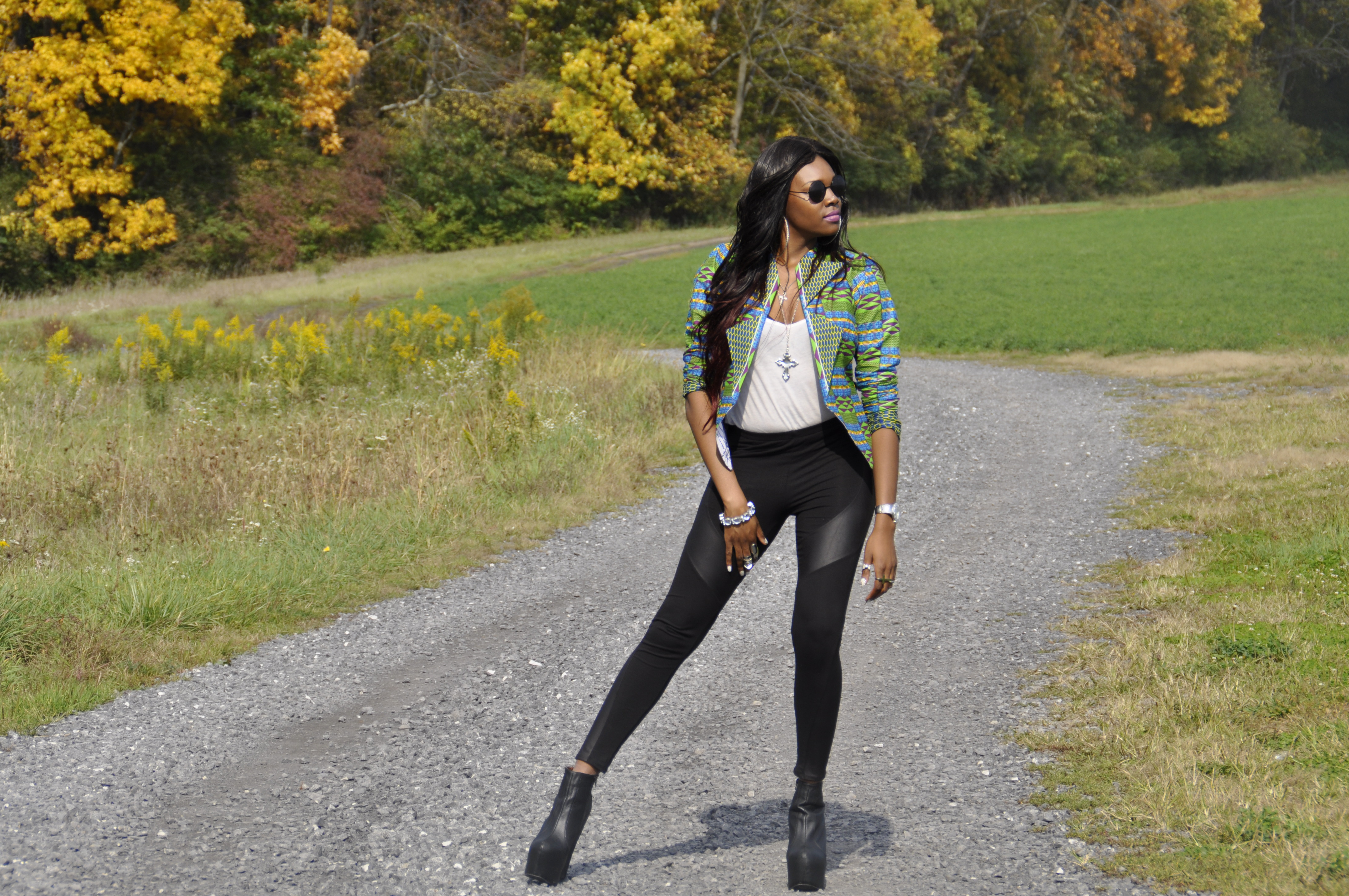 21st Birthday Kente Print Blazer, Faux Leather Panel Leggings and Jeffrey Campbell Black Pixie 2 Boots 3