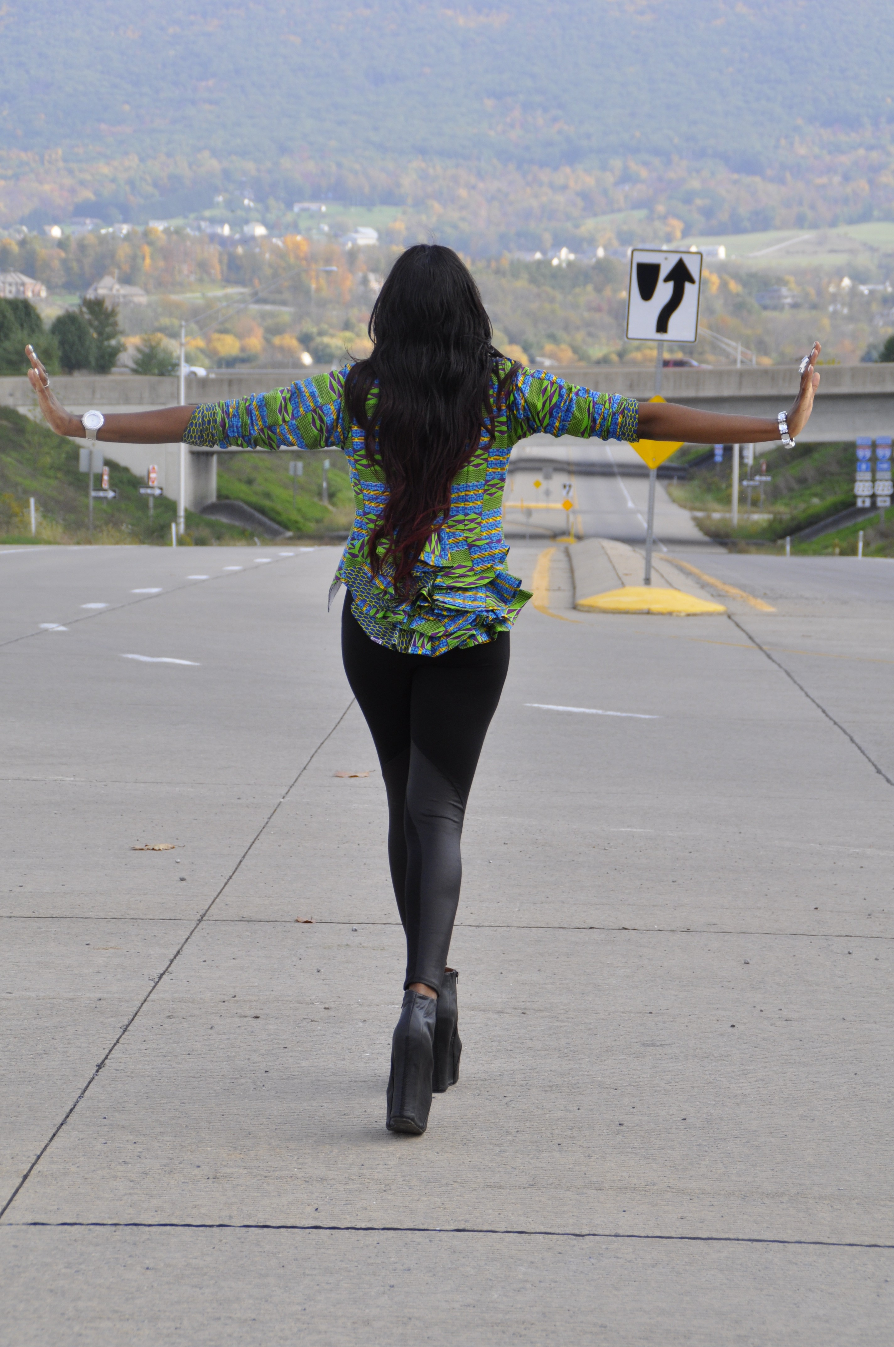 21st Birthday Kente Print Blazer, Faux Leather Panel Leggings and Jeffrey Campbell Black Pixie 2 Boots 7