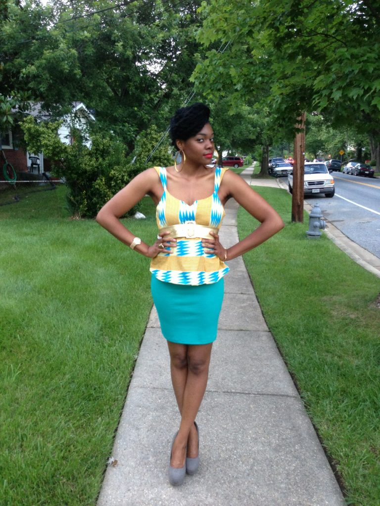 kente-print-peplum-top-with-a-teal-blue-pencil-skirt-6