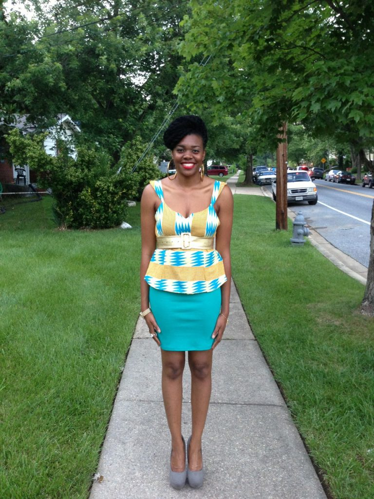 kente-print-peplum-top-with-a-teal-blue-pencil-skirt-7