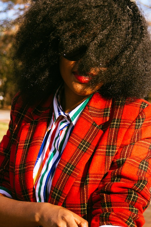 thrifted-red-plaid-blazer-thrifted-white-rainbow-striped-button-up-shirt-hm-blue-wide-legged-jean-pants-4