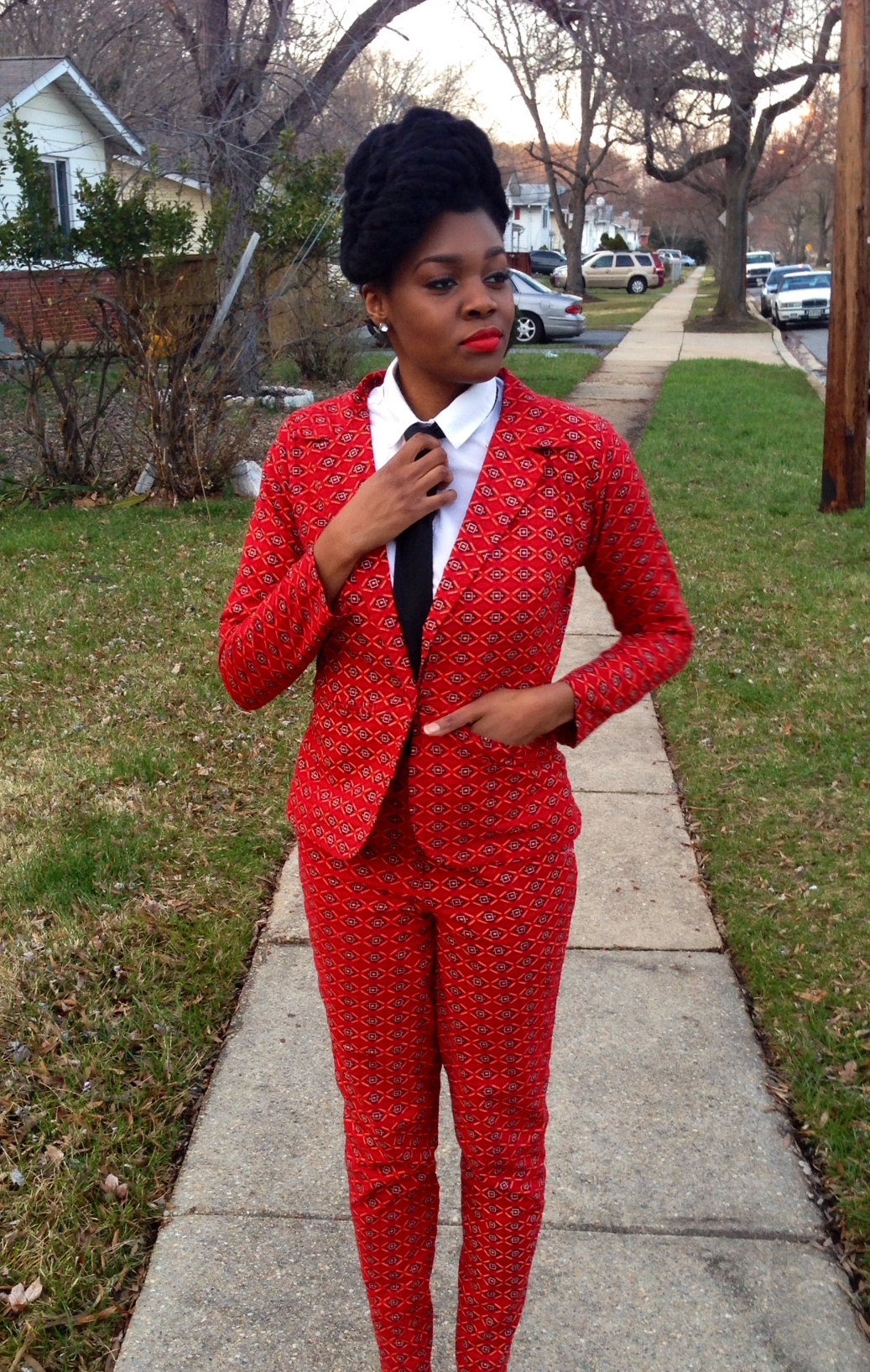Red Ankara Suit & Tie 10