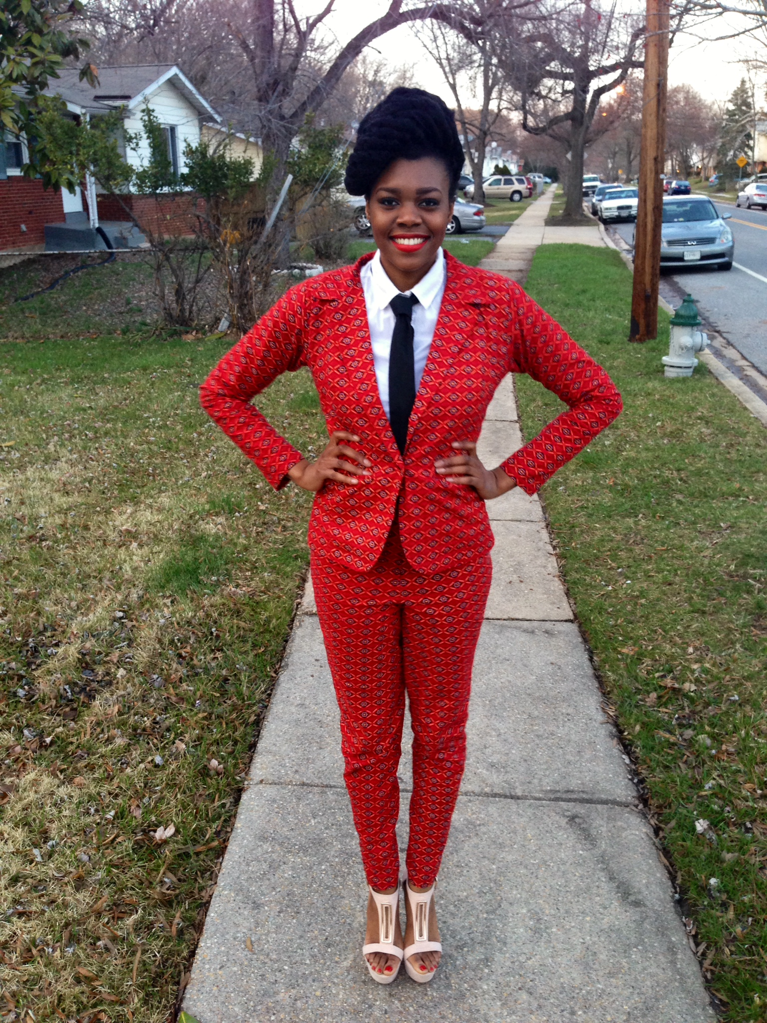 Red Ankara Suit & Tie 3