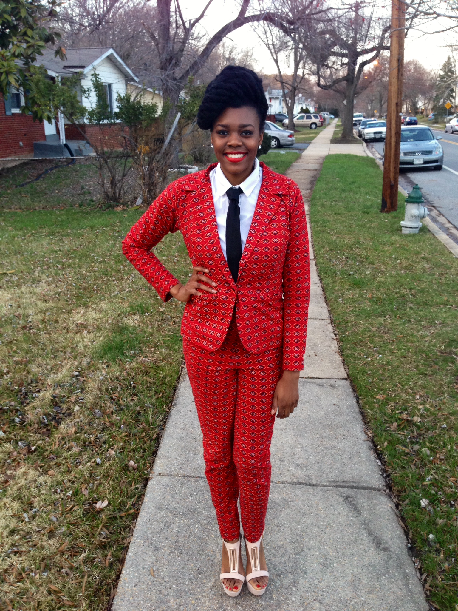 Red Ankara Suit & Tie 6