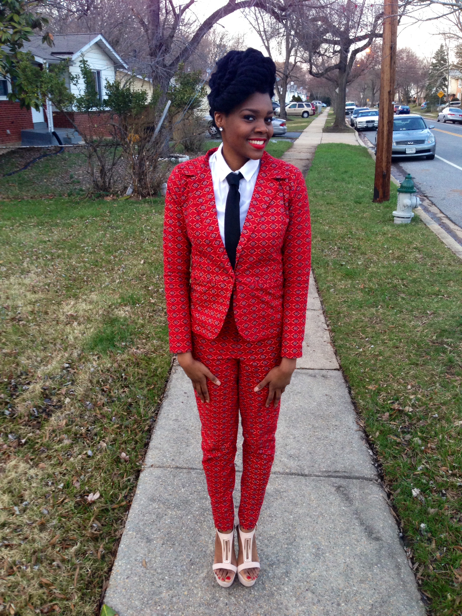 Red Ankara Suit & Tie 7