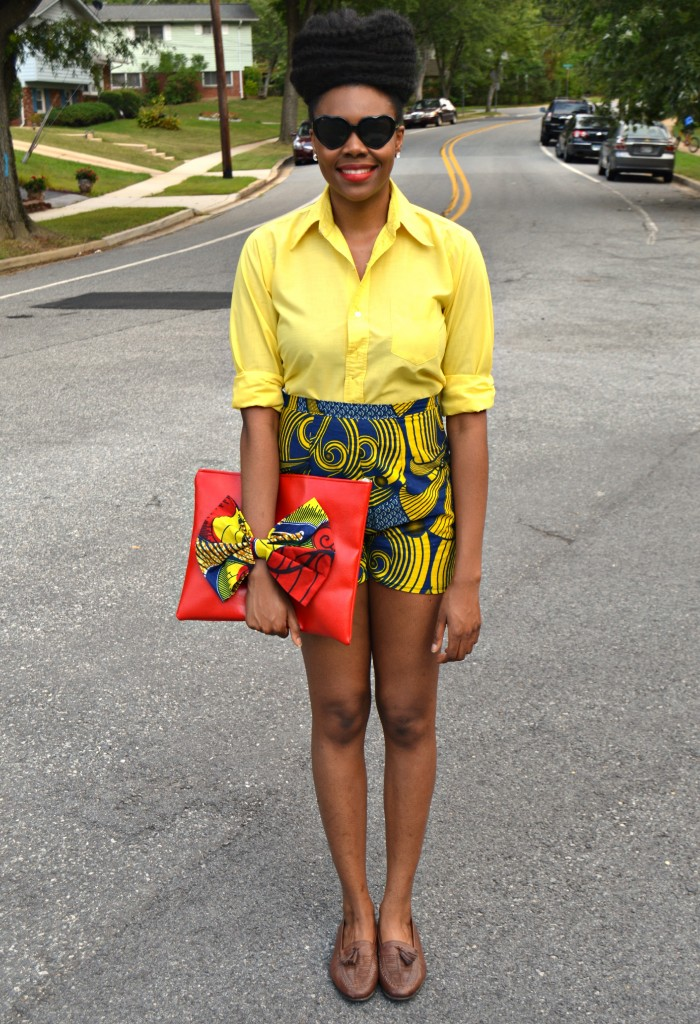 Nikki Billie Jean's Blue Ankara Print Shorts and Red Bowtie Bag for The Naturalista Hair Show 2014 3