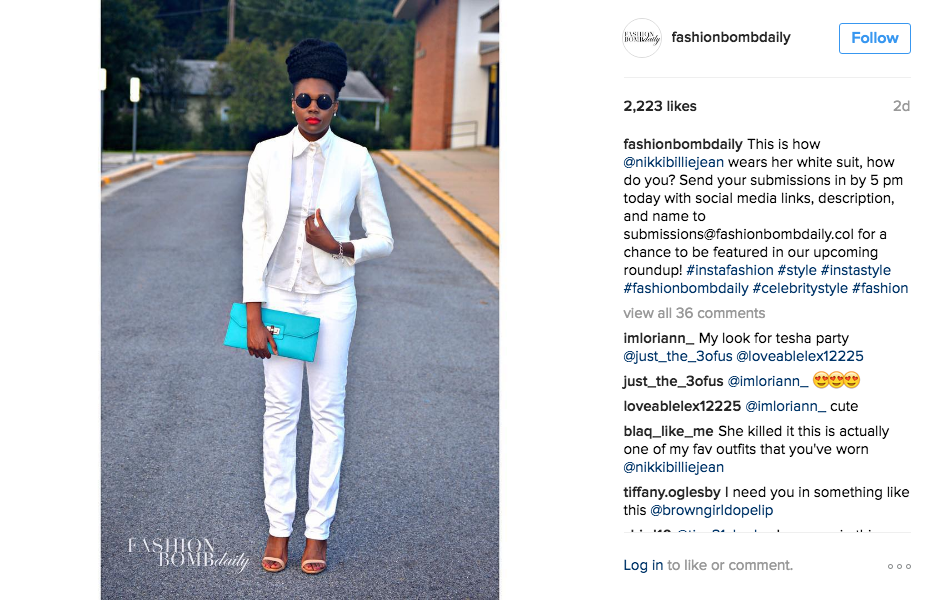 n Fashion Bomb Daily's Spring 2016's White Suit Trend Post-IG Post