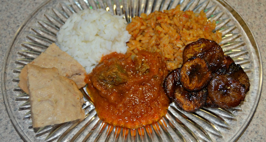 Homemade Organic Jollof Rice, Rice and Stew, Moin Moin & Fried Platain