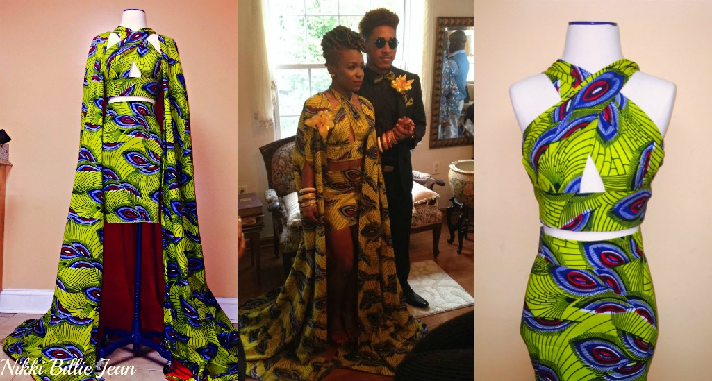 Kemi Ankara Print Cape Criss Cross Crop Top & High Waisted Pencil Skirt