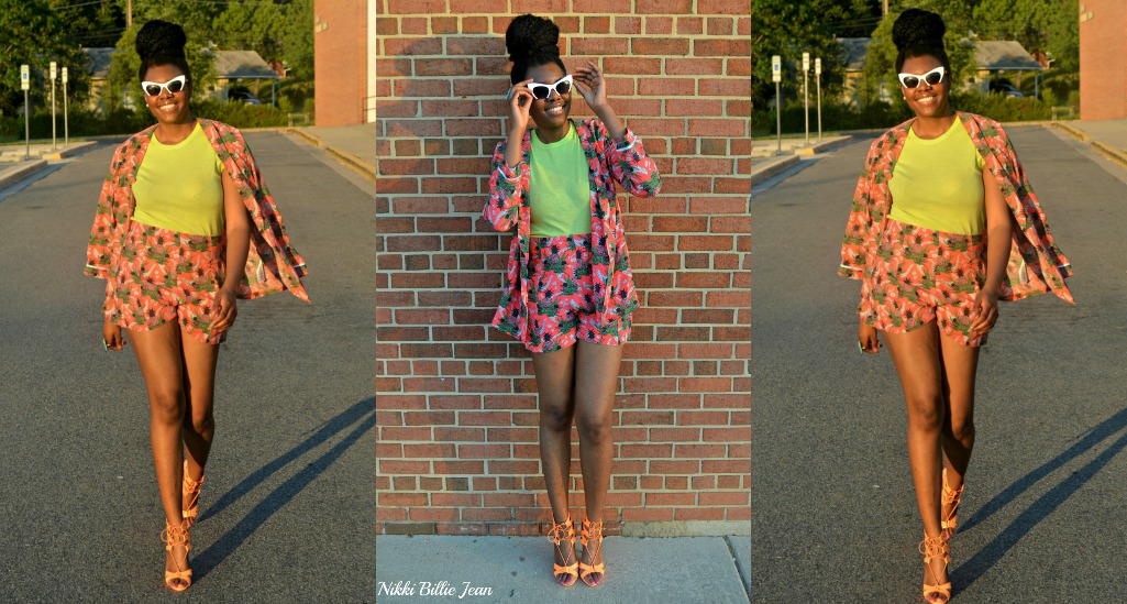 ASOS Pineapple Print Blazer & Shorts with Steve Madden Maiden Lace Up Sandal Heels Collage