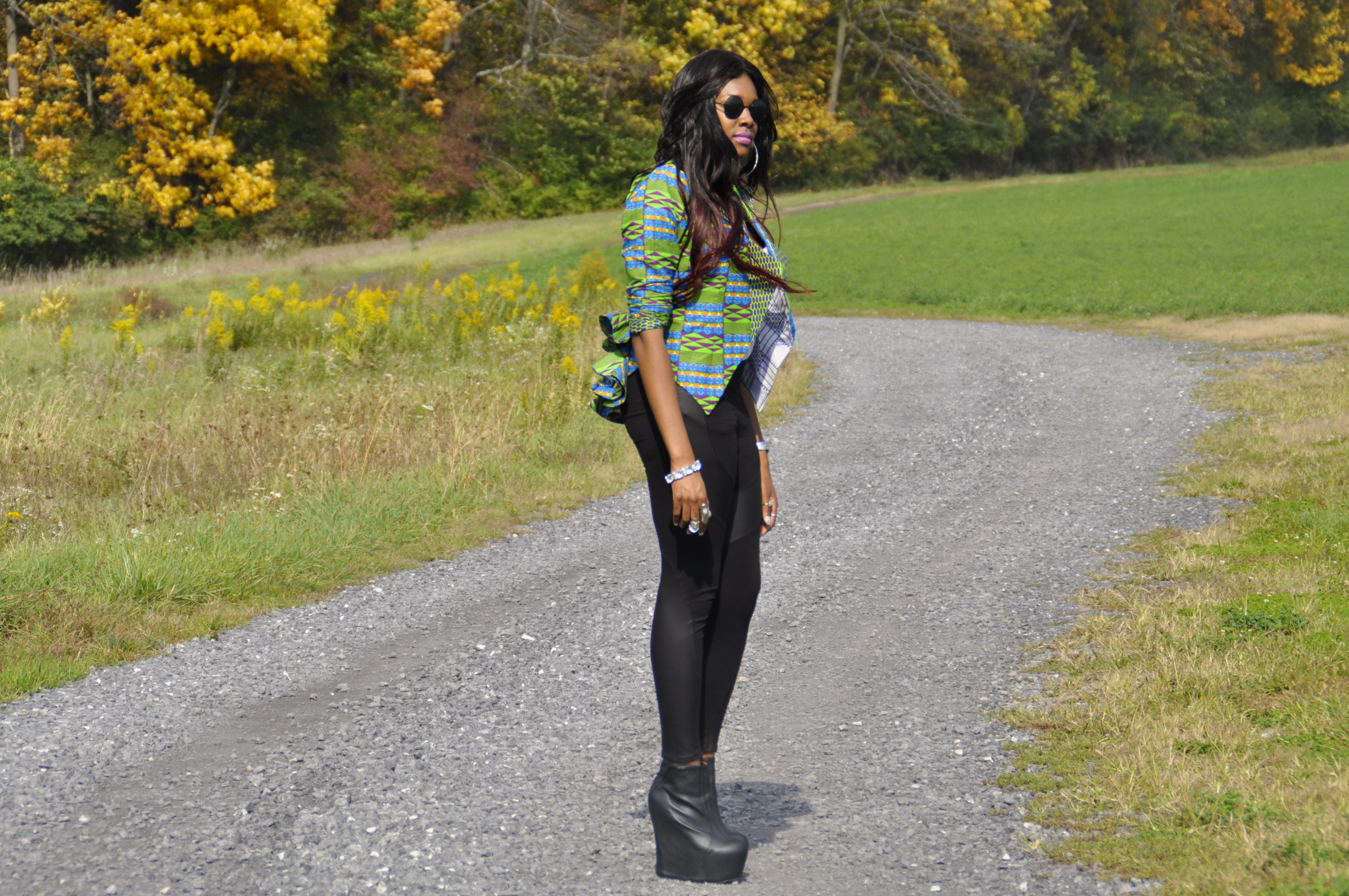 21st Birthday Kente Print Blazer, Faux Leather Panel Leggings and Jeffrey Campbell Black Pixie 2 Boots 4