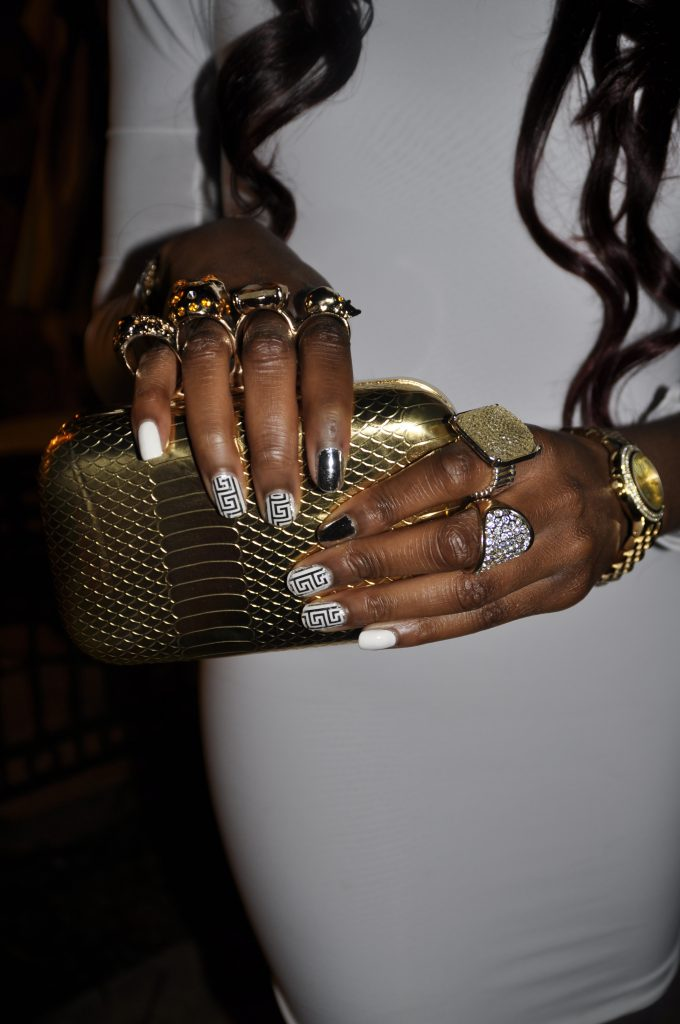 Custom Haus of Falenciago White Long Sleeve Bodcon Dress, Gold Michael Kors Watch, Alexander McQueen Knuckle Duster Inspired Clutch, and Bakers Blue Platform Pumps 5