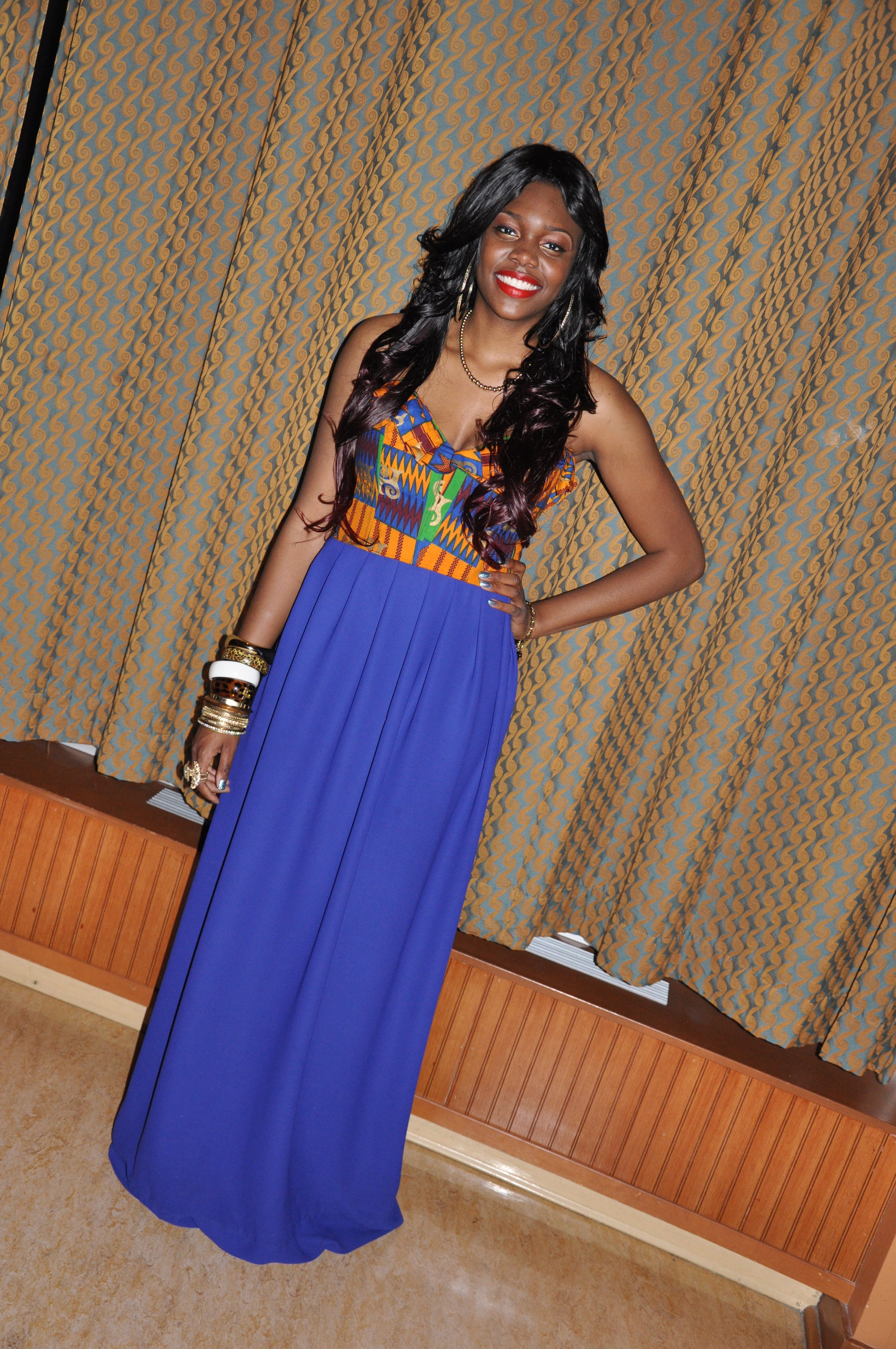 Ankara Print Chiffon Gown for the 2nd Annual Miss Africa PSU 2012 2