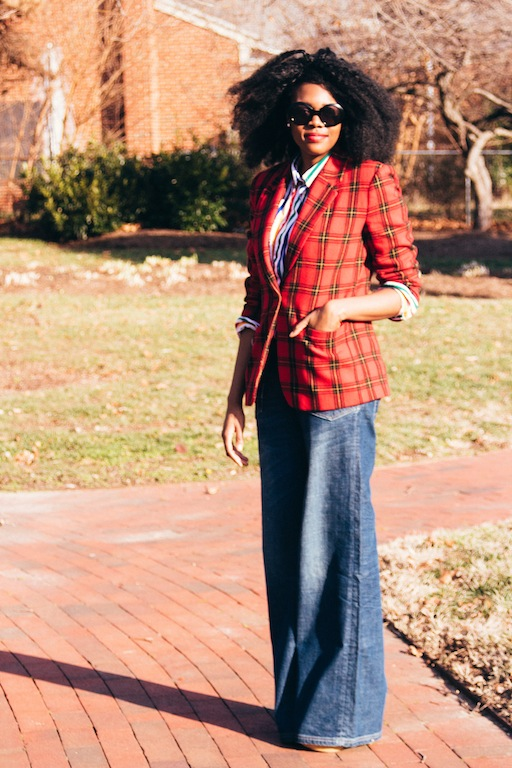 thrifted-red-plaid-blazer-thrifted-white-rainbow-striped-button-up-shirt-hm-blue-wide-legged-jean-pants-5