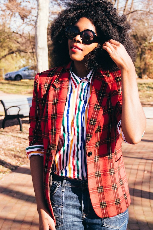 thrifted-red-plaid-blazer-thrifted-white-rainbow-striped-button-up-shirt-hm-blue-wide-legged-jean-pants-6