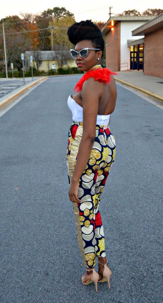 all-things-ankara-fashion-week-2014-day-3-feathers-ankara-white-bustier-daniele-ayele-feather-necklace-and-montrosee-high-waisted-ankara-print-pants-3