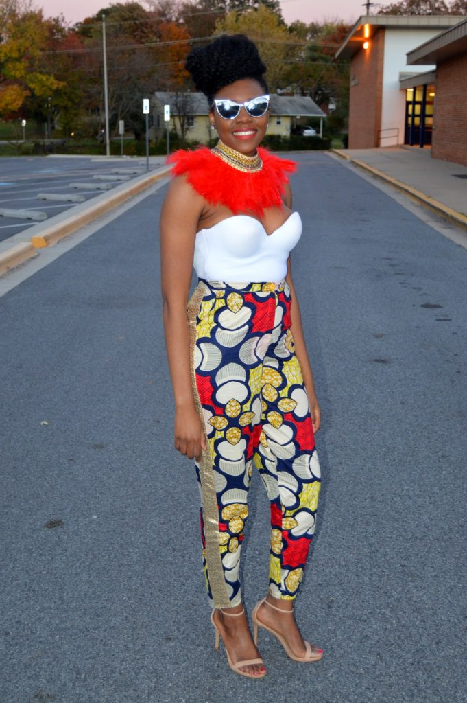all-things-ankara-fashion-week-2014-day-3-feathers-ankara-white-bustier-daniele-ayele-feather-necklace-and-montrosee-high-waisted-ankara-print-pants-4